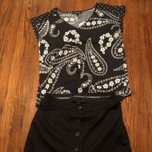 Express blk&white paisley design dressy top&classy